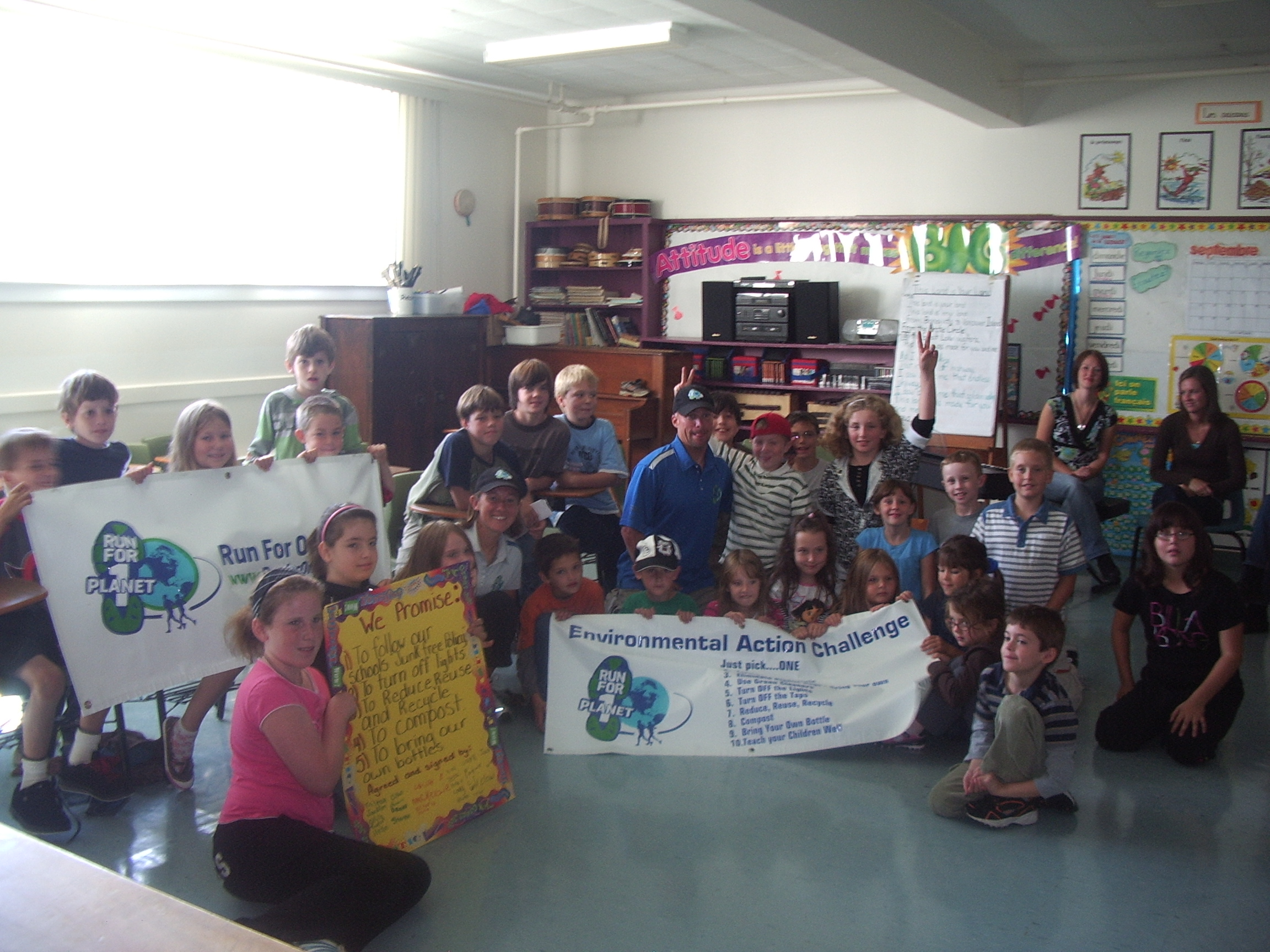 Steph & Matt with students at Grand Tracadie  Elementary School